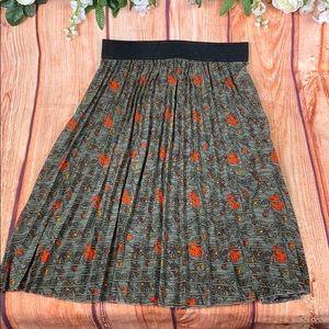 Rare LuLaRoe Jill Midi Floral Pleat Skirt 1423CH4